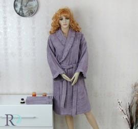 Комплект Халат за баня, хавлия и пантофи с дантела Марая лила