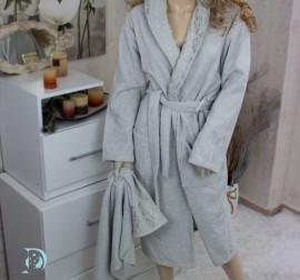 Комплект Халат за баня и хавлии Виктория Сиво