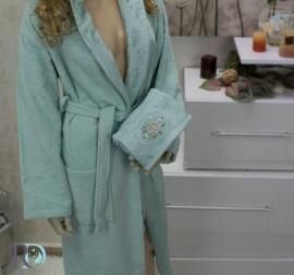 Комплект Халат за баня и хавлии Виктория Зелено