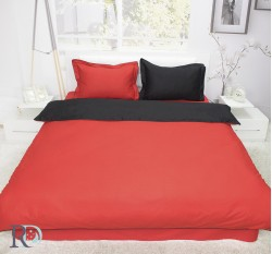 Спален Комплект Памучен Сатен Двуцветен Червено и Черно