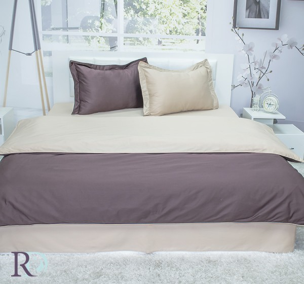 Спален комплект памучен сатен двуцветен Кафяво и Бежово
