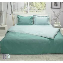 Спален Комплект Памучен  Сатен двуцветен Тъмно Зелено и Светло Зелено