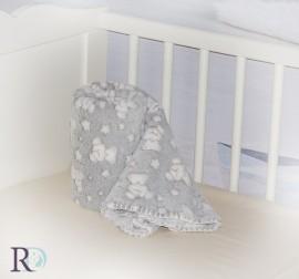 Бебешко Одеяло Джери Мече Сиво