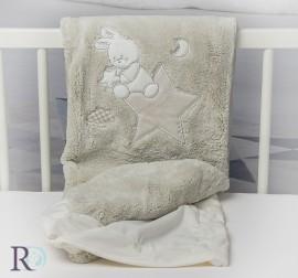Бебешко Одеяло Доди Бежово с Апликация