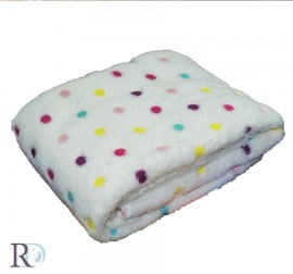 Бебешко Одеяло Полар Екрю на Точки