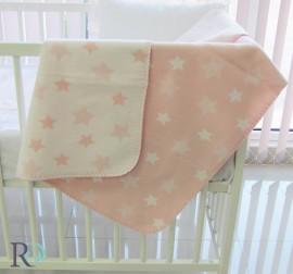 Бебешко Памучно Одеяло Розово на Звездички