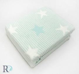 Бебешко Памучно Одеяло Звезди Аква