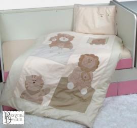 Бебешки спален комплект от 3 части с апликации праскова
