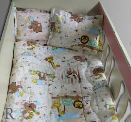 Бебешки спален комплект памук Зоопарк в бежово