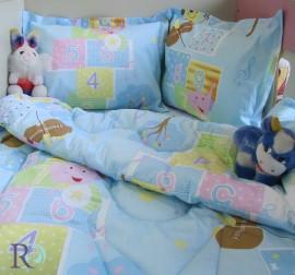 Бебешки спален комплект памук Мече с цигулка в синьо
