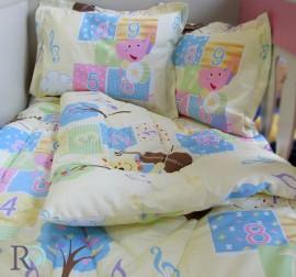 Бебешки спален комплект памук Мече с цигулка в жълто
