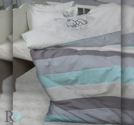 Бебешки Спален Комплект Спящо Мече Сиво с Бродерия