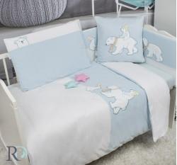 Бебешки Спален Комплект Трико Бели Мечета и Подарък Завивка