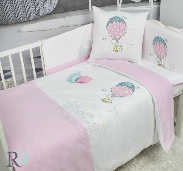 Бебешки Спален Комплект Трико Розов Балон и Подарък Завивка