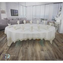 Луксозен Комплект Покривка с дантела за маса в Шампанско