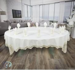 Луксозен Комплект Покривка с дантела за маса в Бяло