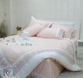 Спален комплект с дантела Сиси праскова бяло