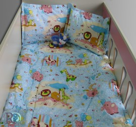 Бебешки спален комплект памук Зоопарк в синьо